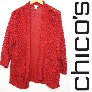 Chico's Red Chunky Knit Open Cardigan